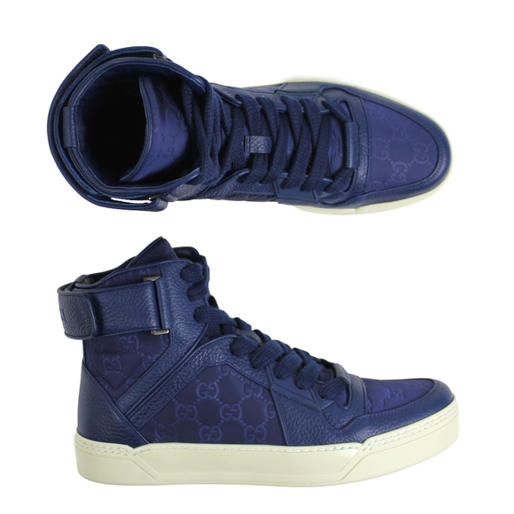 2cd504aa20f Gucci Nylon   Leather High Top Basketball Sneakers